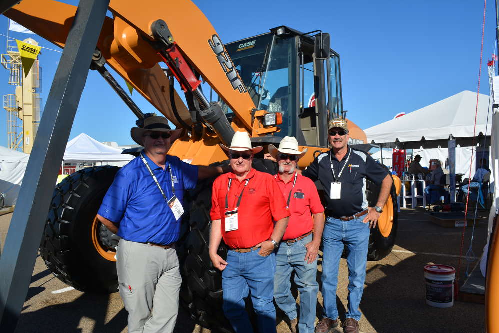 (L-R): Greg Miller, John Kelly and Jim Miller, all of Permian Tractor Sales, Odessa, Texas, and Kyle Dauth of Case represent the Case Construction line.