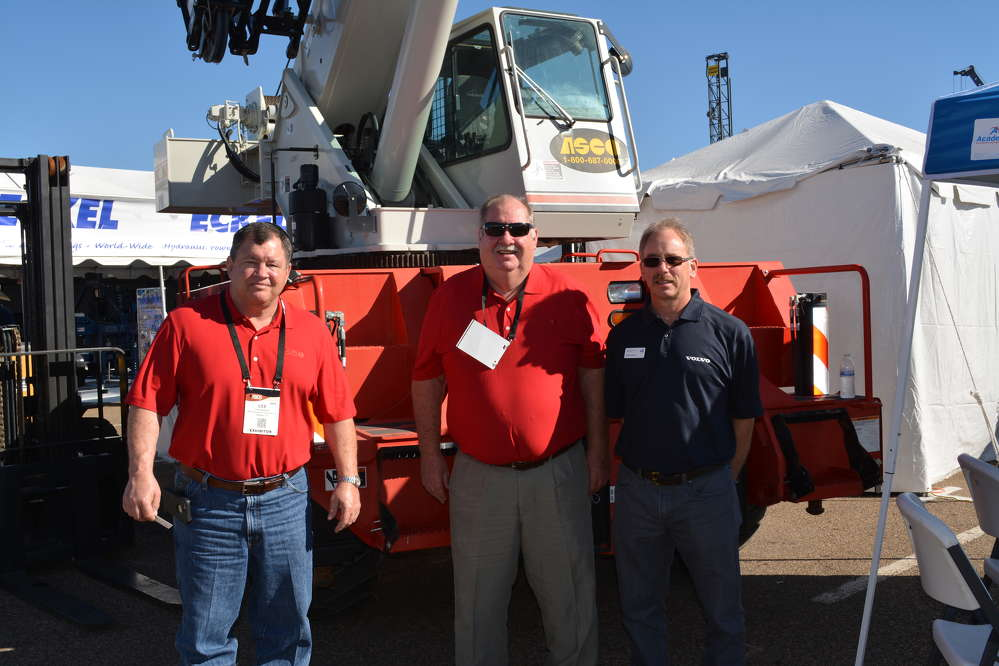 (L-R): Lee Hanson and Karl Van Cleave of ASCO Equipment's Odessa, Texas, branch along with Buddy Goodman of Volvo CE man ASCO's booth at the Permian Basin Oil Show.