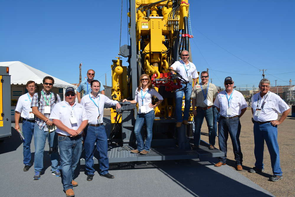 The Atlas Copco gang was all over the RD20 oil and gas drill rig. L-R are John Wolfe, Russel Gold of WSJ; Delaney Erickson, Tyler Williams of Venture Drilling; Peter Redaelli, Michelle Pettit, Ray Shelor, Todd Armstrong of Venture Drilling; Ray Kranzusch and Shane Lein.