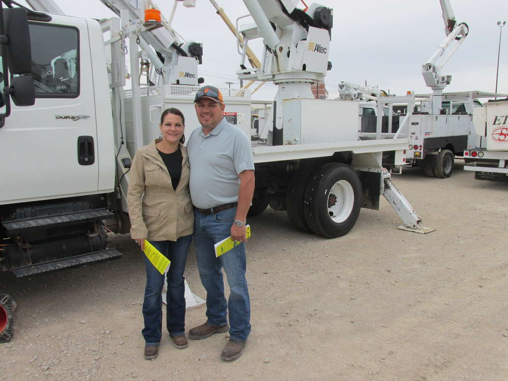 Christy (L) and Jamie Arebalo of Midwestern Electrical Contractors in Norman, Okla., chose this Altec Digger.