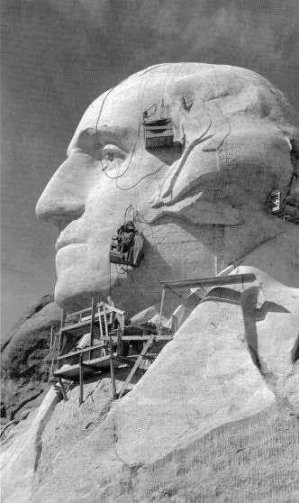 George Washington's face under construction, c. 1930s.Image courtesy of Bill Groethe.