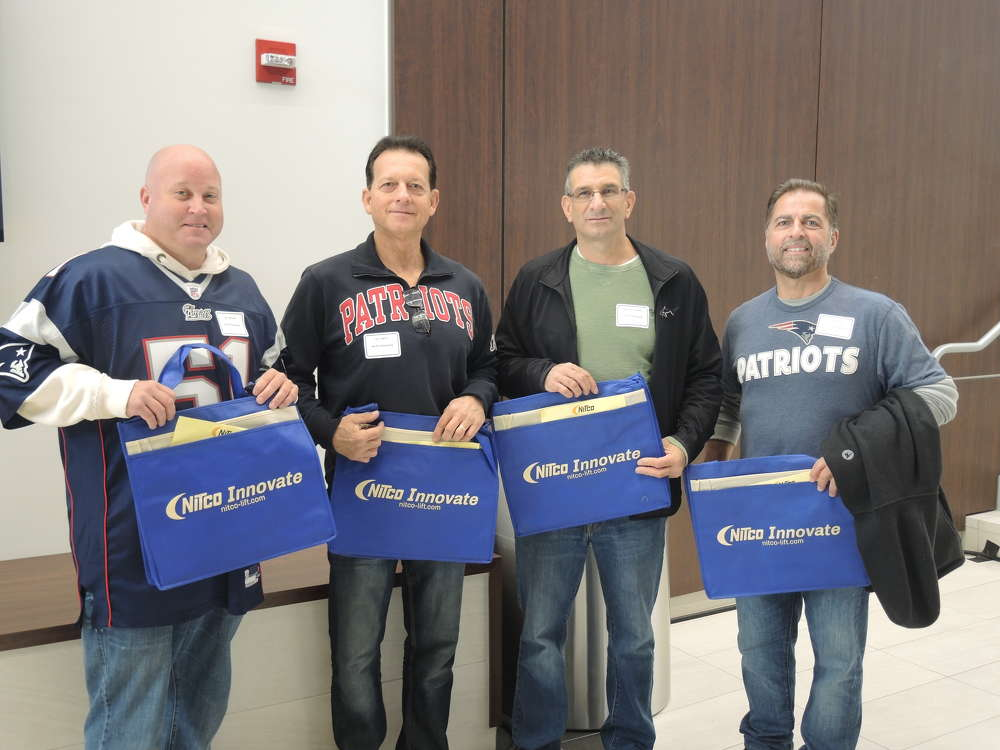 (L-R) are Dave Liciardello, Gus Berry, Jay Royston and Don Nadeau, all of Pacific Packaging, Wilmington, Mass.