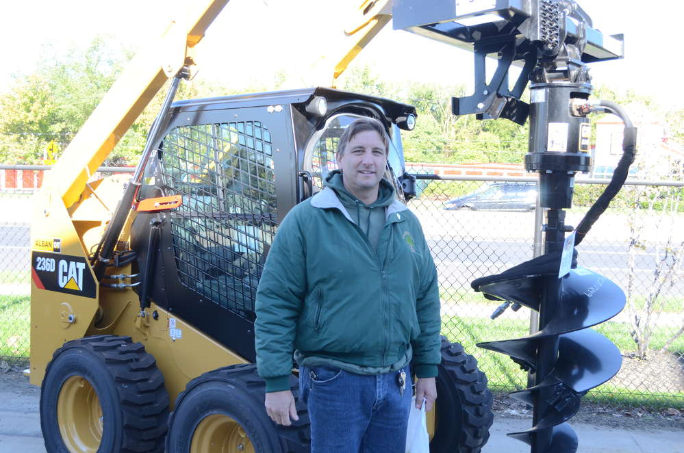 Curtis Pennington, trade shop supervisor of Montgomery County, Md., purchased a Caterpillar 308 excavator and bought a skid steer earlier in the year.  Pennington brought his whole crew to the CAT-A-Thon.
