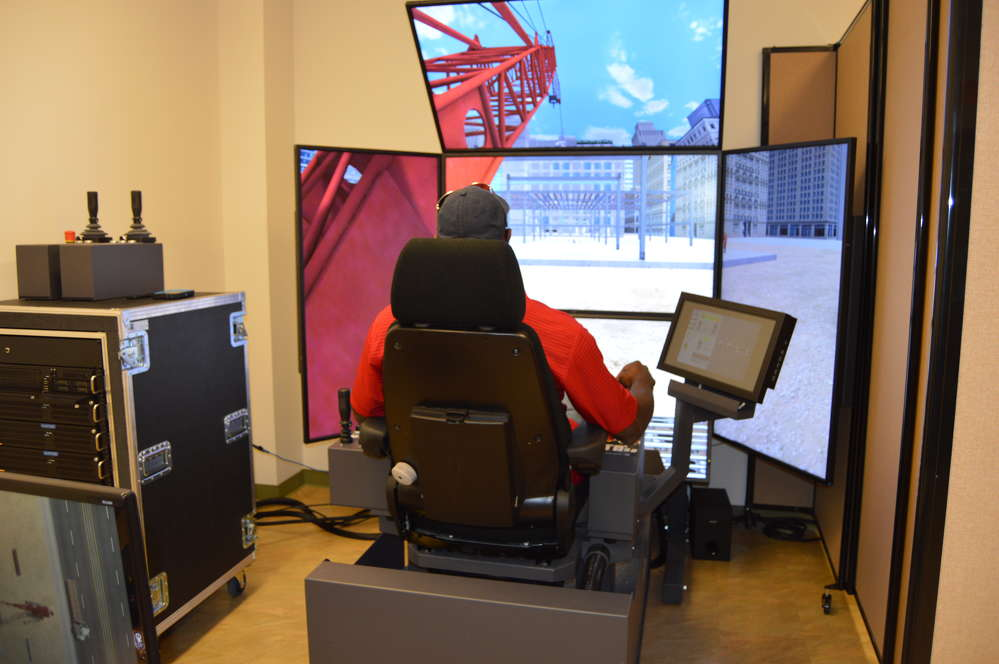 The Vortex crane simulator at the Local 14 training facility offers life-like visuals to create a realistic experience for the operator.