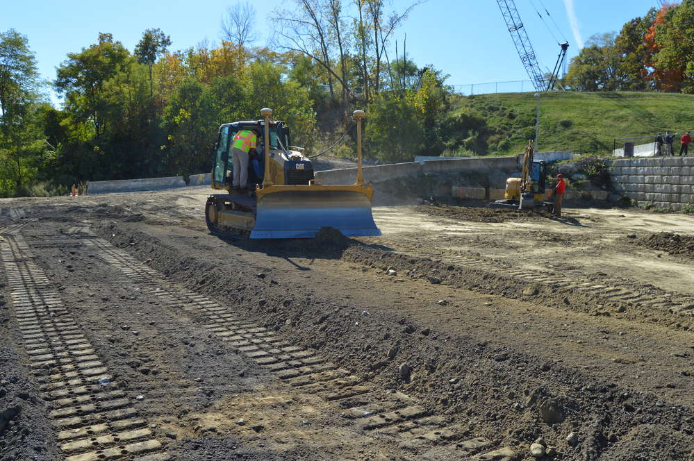 This Cat D5K2 track-type tractor is enhanced with Trimble technology.