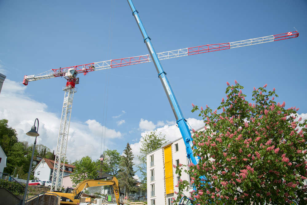 The Terex CTT 162-8 tower crane is on the job at the construction site for the Matthias-Claudius-Haus nursing home in Waldshut, Germany.