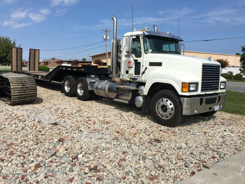 Mabe Steel Inc. has an updated fleet of machines to deliver the best service for its customers.  This 2016 Mack CHU613 is used just about every day to transport the company's cranes to different jobs.