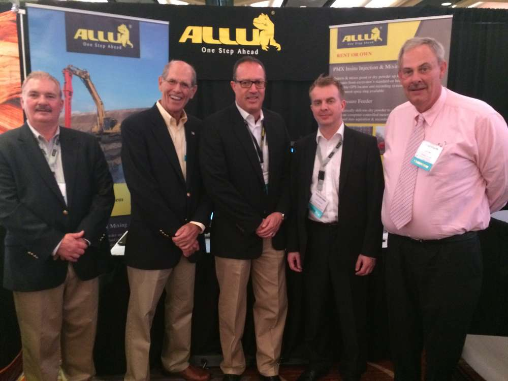 ECA has become the exclusive distributor of the ALLU PMX and PF Soil Stabilization Systems in the Eastern U.S. and Eastern Canadian Provinces. Commemorating the new partnership are (from left): Dale Mickle, Vice President Sales/Marketing, ALLU Group Inc.; Ben Dutton, Vice President of Sales & Marketing, ECA; Edgar J. Chavez, President/CEO, ALLU Group Inc.; Vile Niutanen, Stabilization Sales Manager, ALLU Finland OY; and Steve Stoker, Materials Processing National Sales Manager, ALLU Group Inc