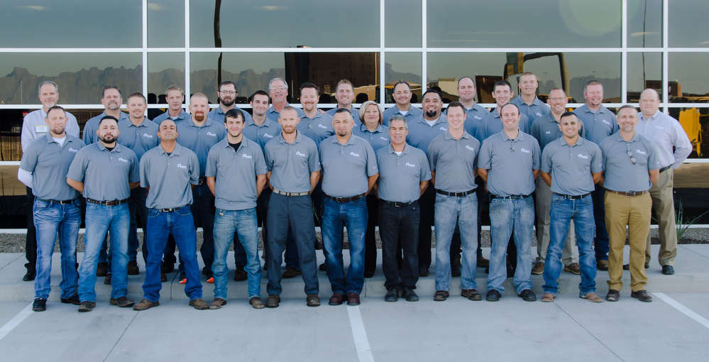 The team at RDO Equipment Co. in Chandler, led by Kenneth Franklin, store manager (L, back row) and Dennis Howard, VP of southwest construction region (R, back row).