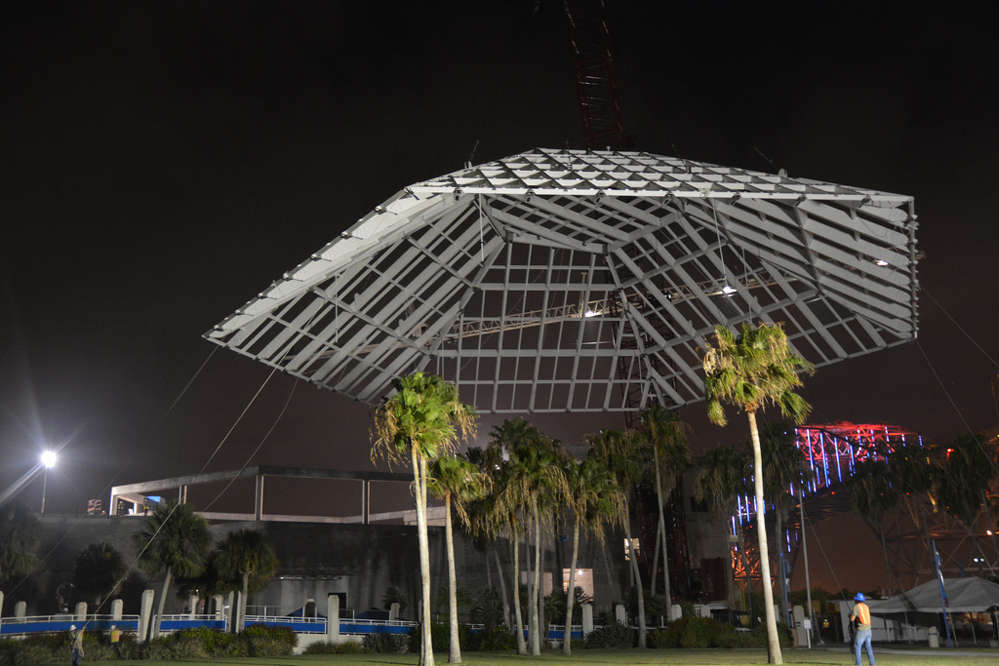 With this roof structure in place, the peak of the Caribbean wing building now has an elevation of 100 ft. 4 in. (30.5 m), above sea level.