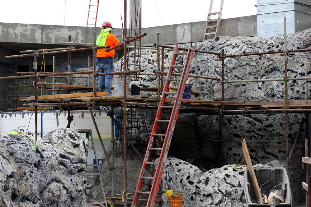 In addition to the shipwreck, Cemrock Landscapes Inc. is creating the rock work that will be seen in exhibits throughout the