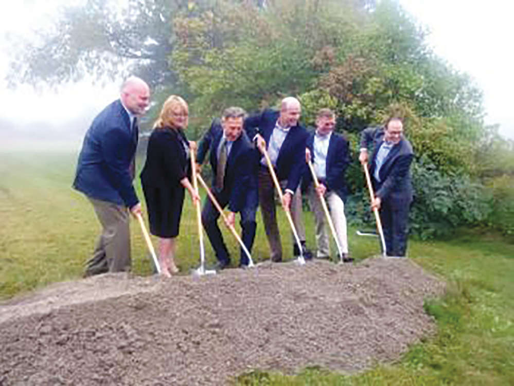 Officials take part in the groundbreaking ceremony on Sept. 19th for Vermont's Deerfield Wind Farm.