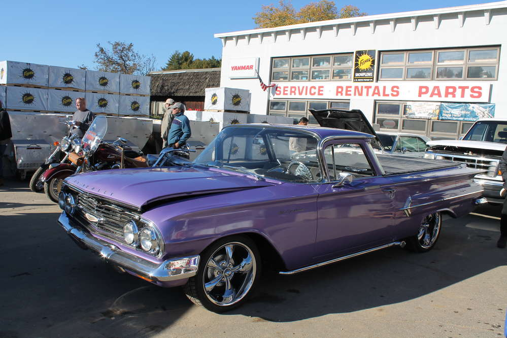 This purple Chevrolet El Camino was one of a few vintage cars up for bid at the auction.