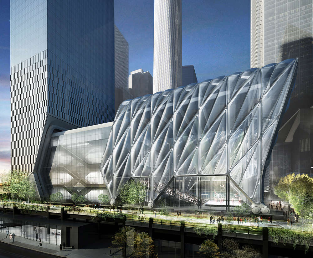 The Shed, a 20,000-sq.-ft. (1,858 sq m), six-level center for artistic invention is situated on New York City-owned land at West 30th Street where the High Line meets Hudson Yards.