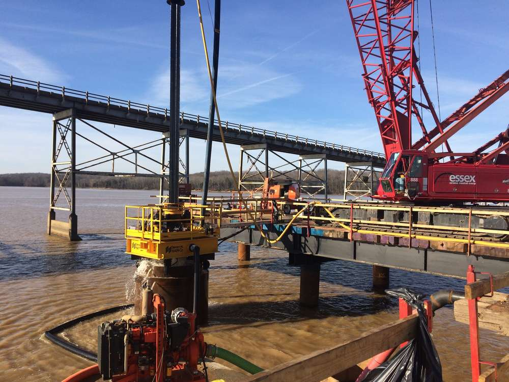 PCL Civil Constructors photo. Crews in Kentucky are working to complete a modern, four-lane bridge to carry U.S. 68/KY 80 over Lake Barkley, and serve as the eastern entrance to Land Between The Lakes National Recreation Area.
