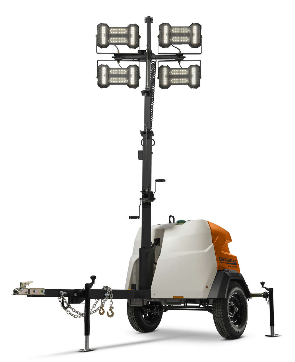 The MLT6SMD LED light tower is a 6kW unit powered by a Tier 4 ultra-fuel-efficient ECOSpeed engine that operates in multiple speeds.