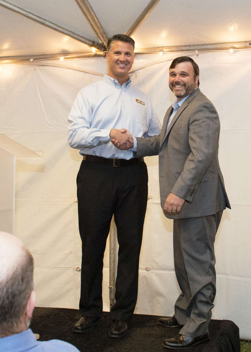 Dan Schmidt (L), vice president of sales of JCB North America, and Chris Shea, owner of JCB of Georgia.