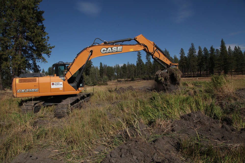 Team members learned to safely operate this Case CX210C excavator, provided by Central Machinery.