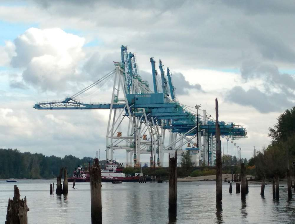 Image courtesy of M.D. Stevens.  Marine Terminal 6 cargo cranes from Kelly Point Park in Portland, Oregon.