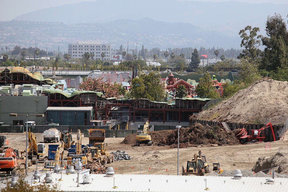 David Yeh/EndorExpress photo Although construction is fairly well hidden behind walls, fences and trees, some Disneyland visitors consider viewing the construction site as a park attraction in itself.