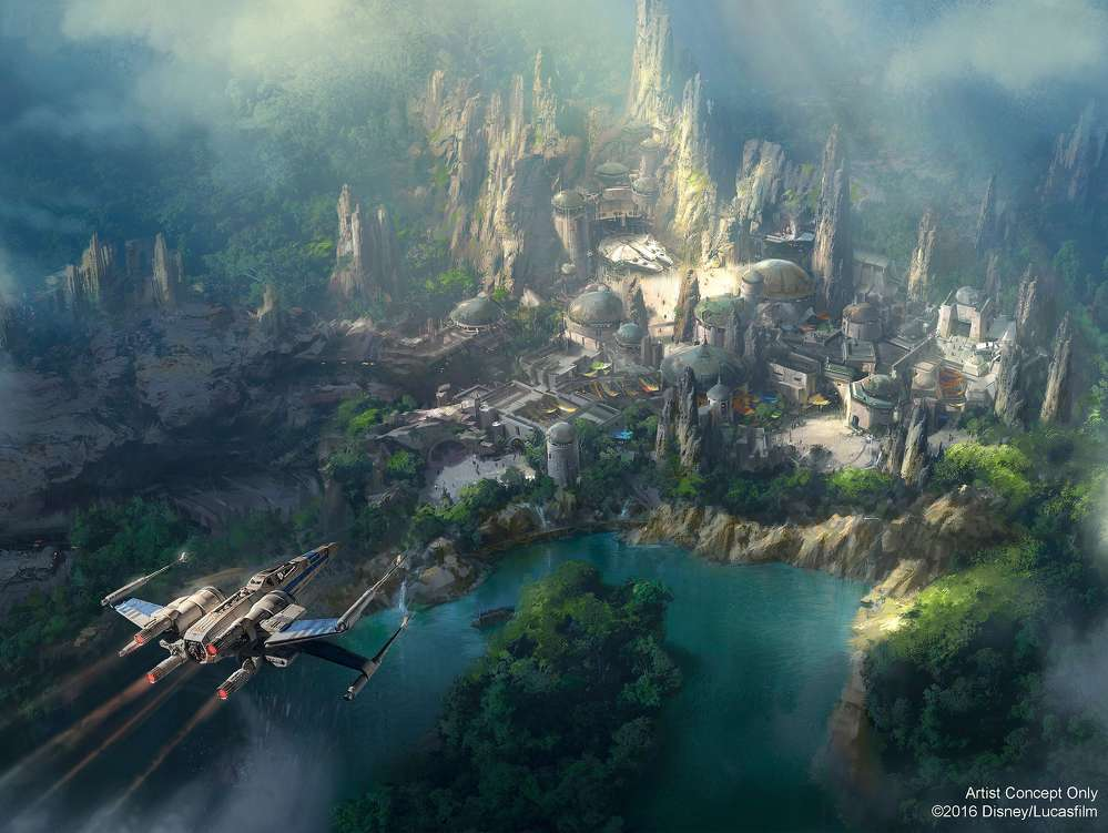 """Disney/Lucasfilm photo An artist rendering of Star Wars Land reads, """"On a remote outpost planet, new adventures await."""""""