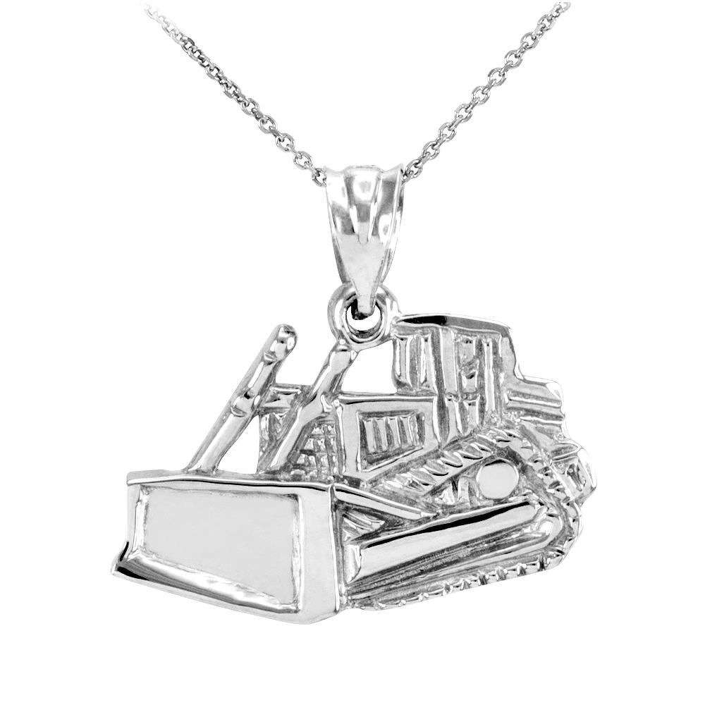 Sterling Silver Bulldozer Pendant Necklace