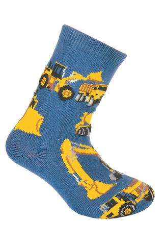 Construction Vehicles on Blue Socks
