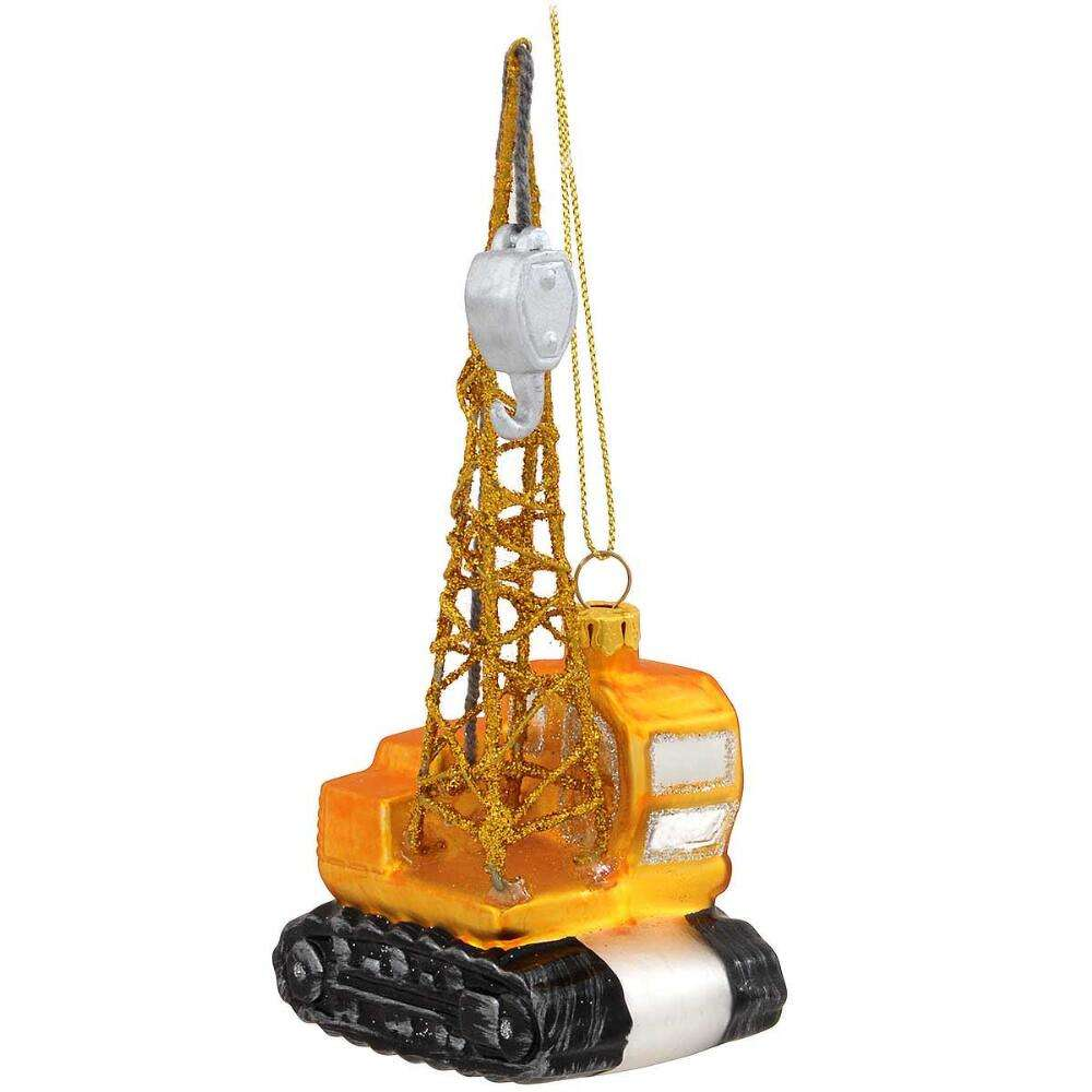 Crawler Crane Glass Ornament