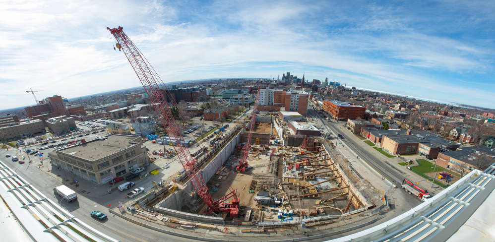 A new building for the Jacobs School of Medicine and Biomedical Sciences at the University at Buffalo in Buffalo, N.Y., is on schedule to open in the fall of 2017. University at Buffalo photo