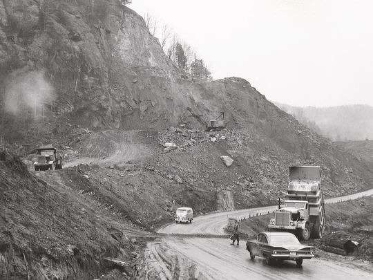 Interstate 89 being built in Waterbury, Vt. (Vermont Historical Society Photo)