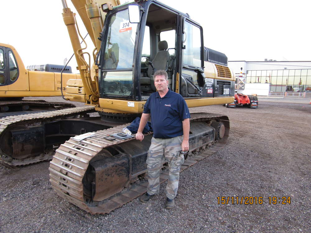 Robert Seitz of Patriot Environmental Services, an emergency spill response service in Phoenix, Ariz., is interested in this Cat 330D excavator and other almost-new equipment with low hours.