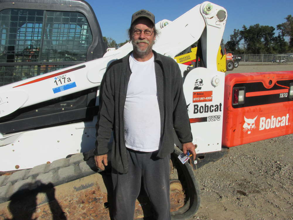 Ken Neely, Ken's Quality Carpet Cleaning Service in Tyler, Texas, thinks this Bobcat T870 will work perfectly for moving carpet.
