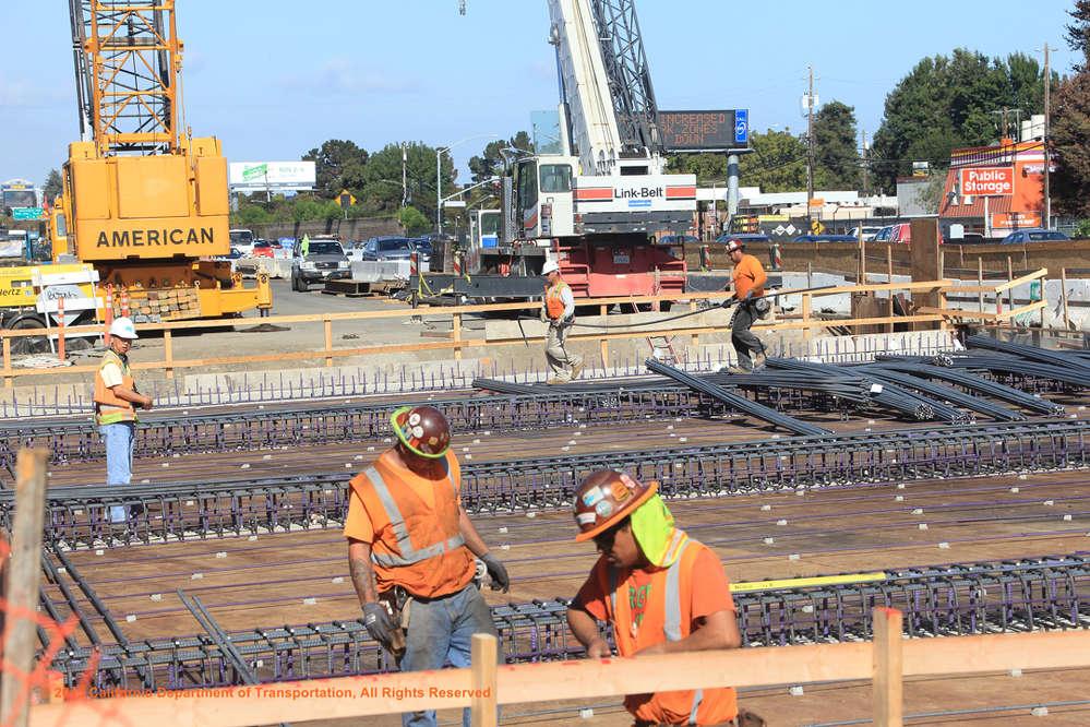 Crews install rebar for San Francisquito Creek Bridge deck.