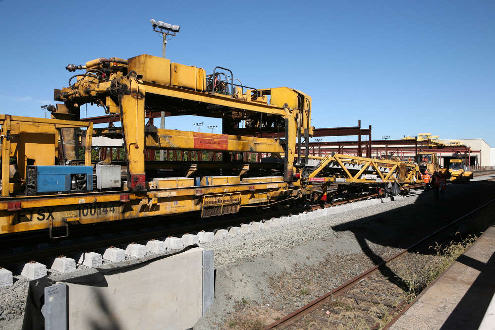 The rail program is taking advantage of a state-of-the-art track construction machine (TCM), which is currently being used to double-track portions of the line. (Connecticut Department of Transportation photo)