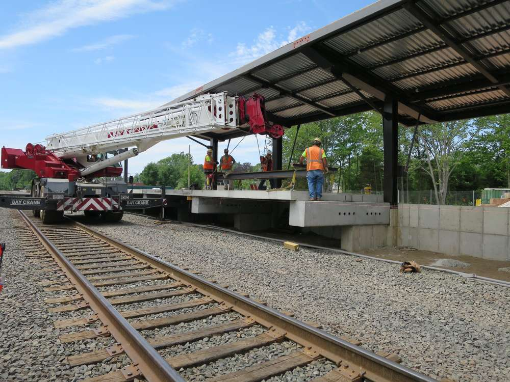 Platform planks are installed at Berlin Station. (Connecticut Department of Transportation photo)