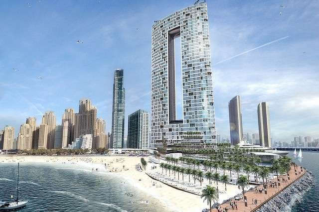 The project will contain a pair of 74-story towers at the end of Dubai Marina. (The National photo)