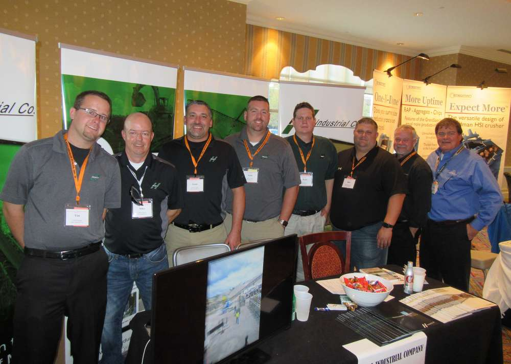 L-R) are Tim Meighan, Mike Parsley, Jamie Logan, Scott George, Ryan Keaton, Bob Keaton III and Bob Keaton Jr., all of Hall Industrial, and Jerry Sammons of Telsmith.