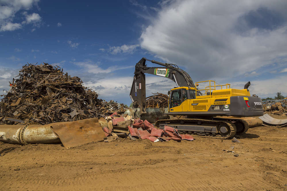Tervita Metals Recycling's Red Deer site sprawls across 17 acres and contains every type of scrap metal imaginable, from damaged rail-cars to expired city buses and gas field piping.