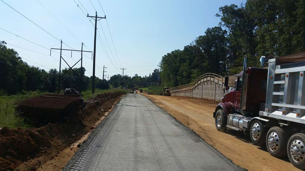The project required relocation of a transmission pole and significant retaining wall construction in the area where Mary Washington Boulevard is being extended to connect with Fall Hill Avenue.