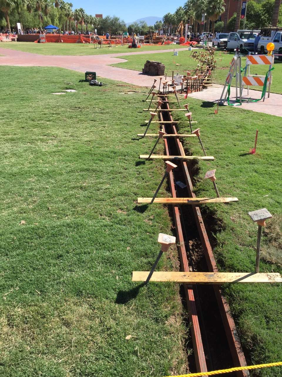 To create the outline, workers used a thin special-sized backhoe, such as the type used for running irrigation lines.