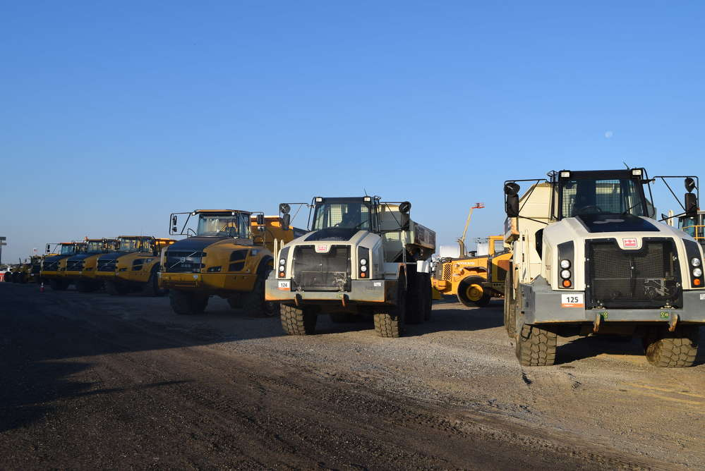 The auction featured a selection of articulated trucks.
