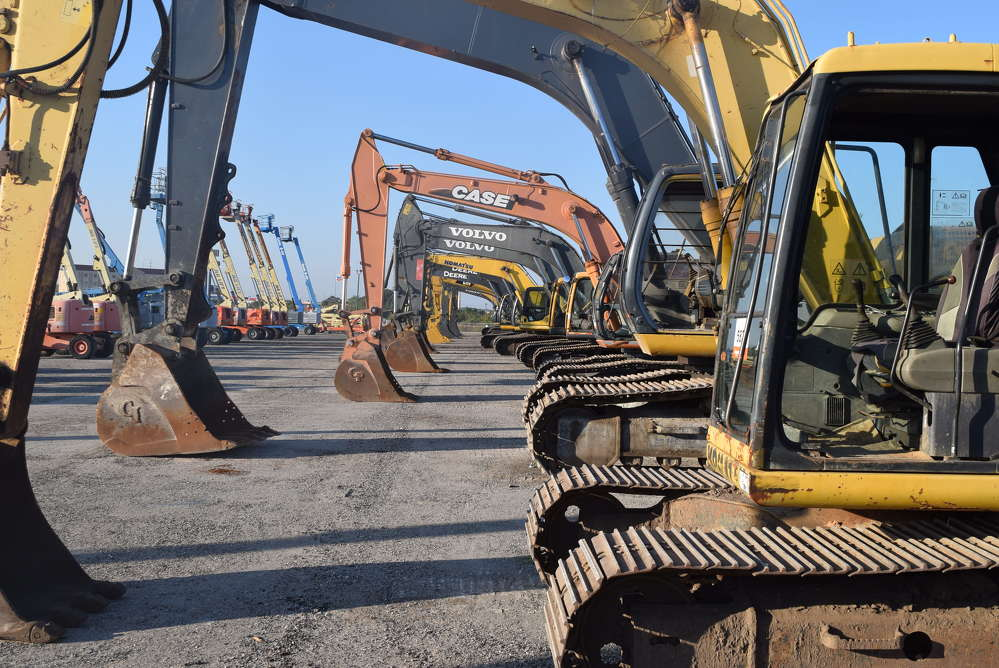 This line of excavators was sold at the Ritchie Bros. auction.