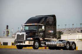 """Mack Trucks is nearing the finish line in its first full season as the """"Official Hauler of NASCAR."""""""