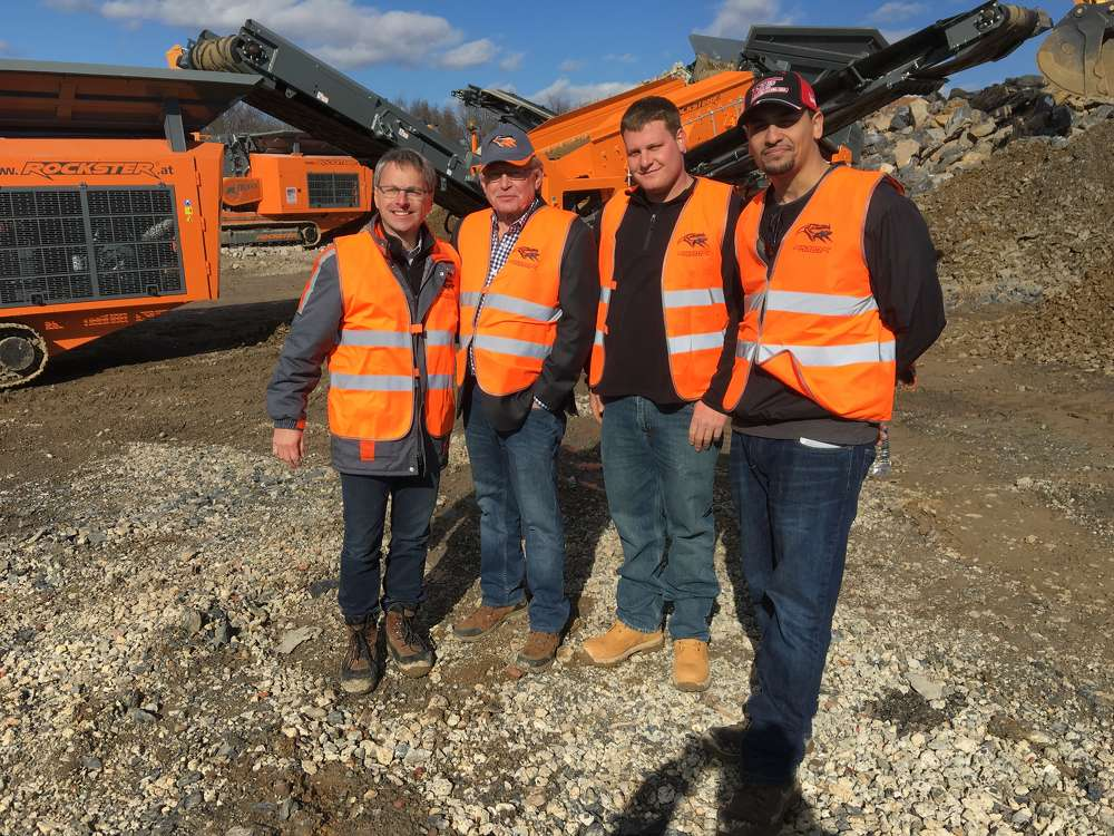 (L-R) are Norbert Feichtinger of Rockster; Earl and Dan Tucker of Equip Sales & Leasing Corp.; and Joe Collazo, also of Equip in North Haven, Conn.