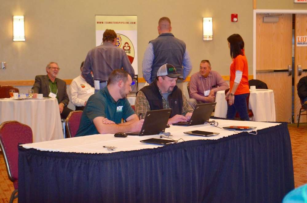 Local vendors could enter their business information at the expo to provide services during the construction of the pipeline.