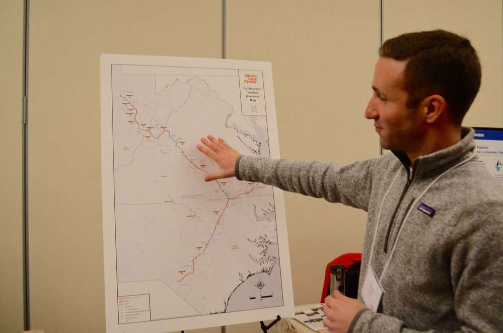 Dominion spokesperson Aaron Ruby explains the scope of the pipeline and the locations of different spreads.