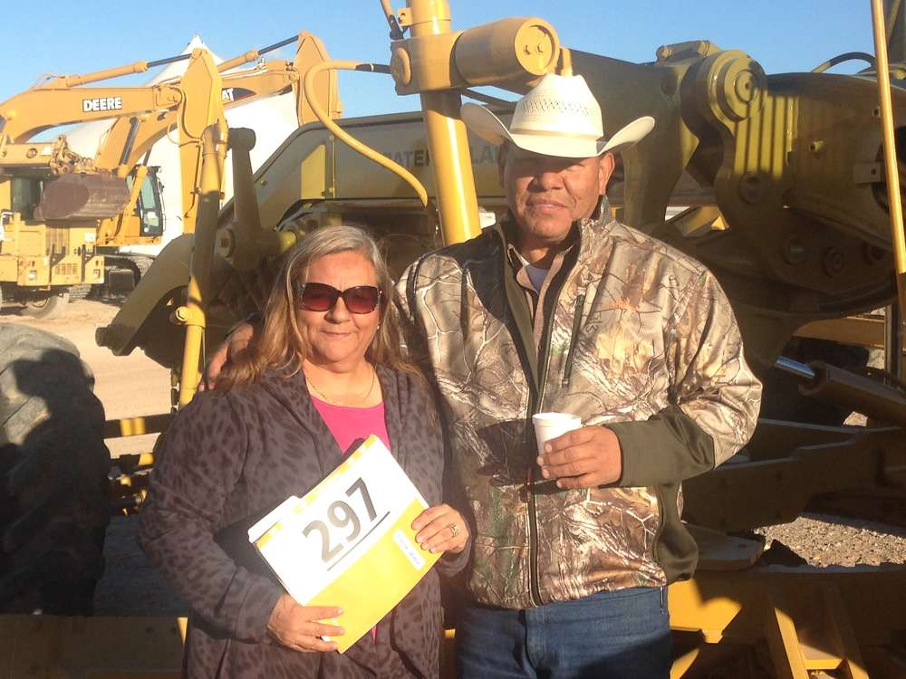 Sylvia (L) and Ricky Herrera came from Pecos, Texas, to buy a Cat motorgrader. Ricky owns LFH Construction in Pecos.