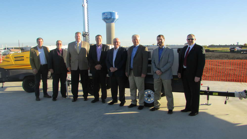 (L-R) are Craig Burkert, CFO of ROMCO; Alan Kurus, vice president of Atlas Copco; Scott Carnell, president of Atlas Copco; Robert Mullins, CEO of ROMCO; Charlie Clarkson, president of ROMCO; David Fitch, division president of ROMCO; Gable Sprague, ROMCO Power Systems division manager; and Clint Blair, regional channel manager of Atlas Copco.