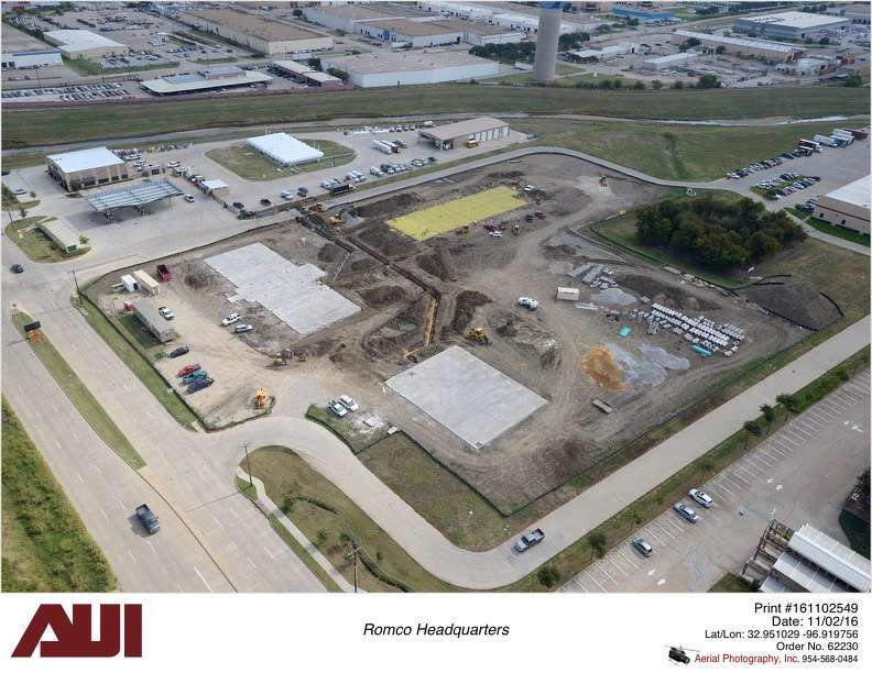 Progress is being made on ROMCO's new facility, which will feature 12,785 sq. ft. (1,187.8 sq m) of office space; 7,990 sq. ft. (742.3 sq m) of warehouse space; and 13,063 sq. ft. (1,213.5 sq m) of shop space.