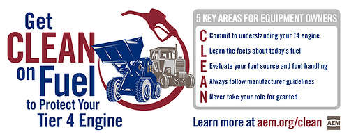 "The AEM ""Get CLEAN on Fuel"" infographic outlines five key actions that help protect Tier 4 engines."
